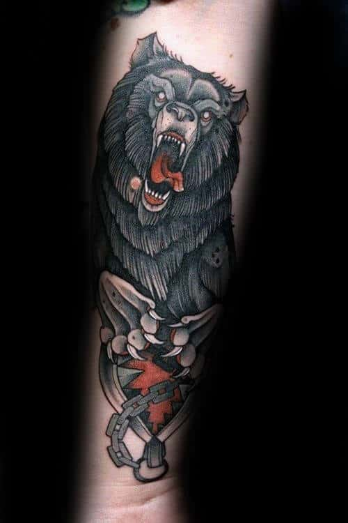 Bear Trap Claw Mens Forearm Tattoo