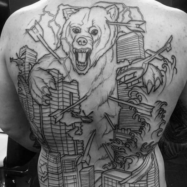 Bear With Arrows And Skyline Mens Full Back Tattoos