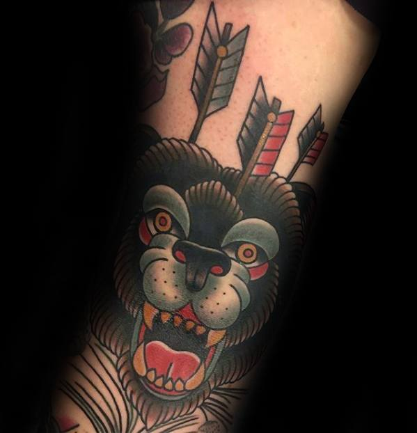 Bear With Arrows Traditonal Old School Remarkable Ditch Tattoos For Males