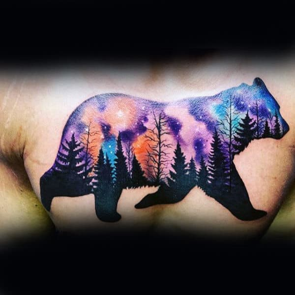 Bear With Black Ink Pine Tree And Stary Sky Male Ches Tattoo