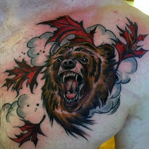 Bear With Clouds Chest Masculine Mens Leaves Tattoos Designs