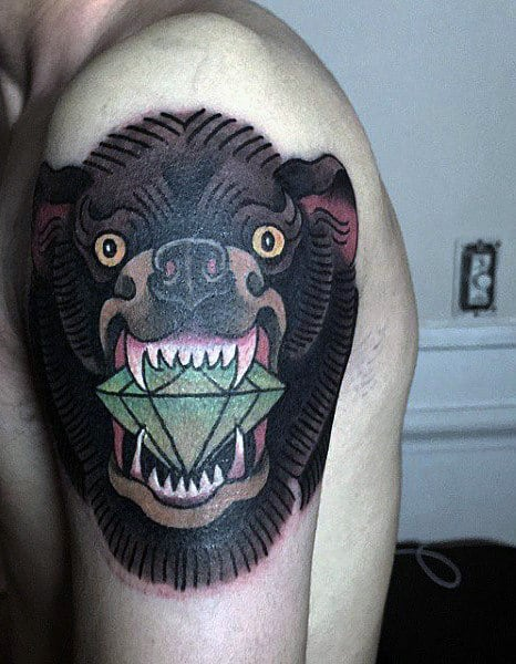 Bear With Green Diamond In Mouth Mens Upper Arm Tattoo Design Ideas