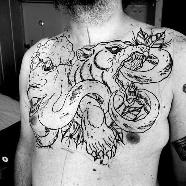 Bear With Kraken Cool Claw Upper Chest Tattoo On Gentleman