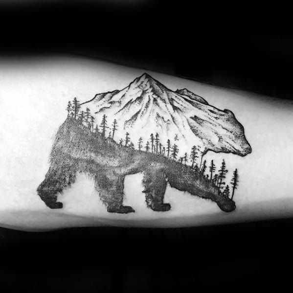 Bear With Mountains And Trees Small Mens Arm Tattoo Ideas