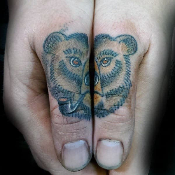 Bear With Pipe Thumb Tattoos For Guys