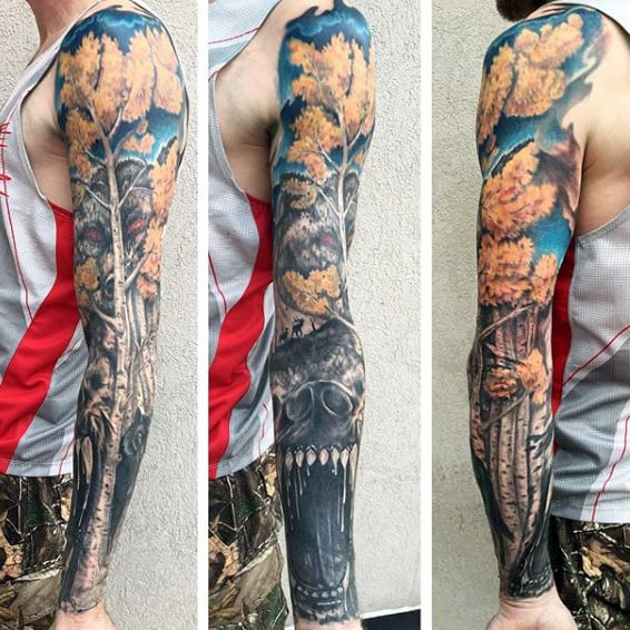 Bear With Tree Badass Mens Tattoo Sleeves