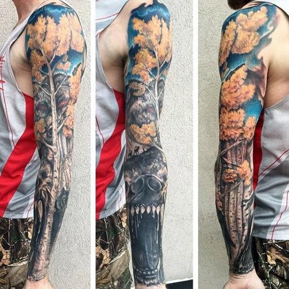 Bear With Tree Badass Mens Tattoo Sleeves