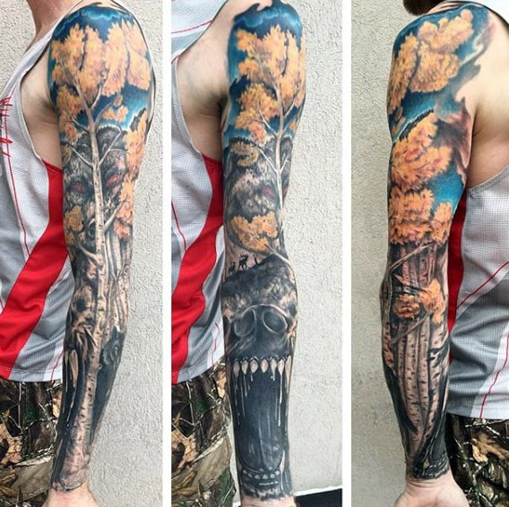Bear With Trees Mens Fall Themed Full Sleeve Tattoos