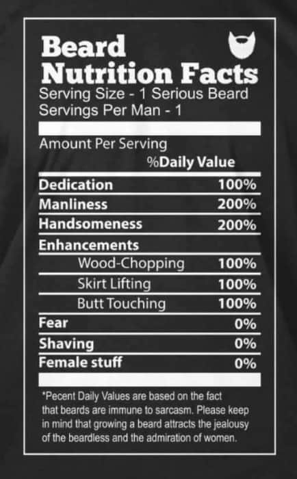 Beard Nutrition Facts Funny Beard Memes