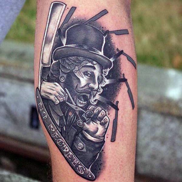 Bearded Barber With Several Straight Razors Tattoo Male Forearm