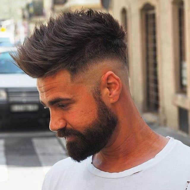 High shadow haircut with long beard