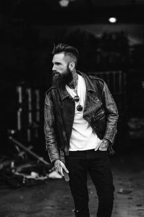 Bearded Male With Undercut And Medium Length Thick Hairstyle