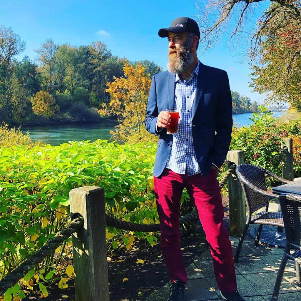 Bearded Man Red Pants Fashion