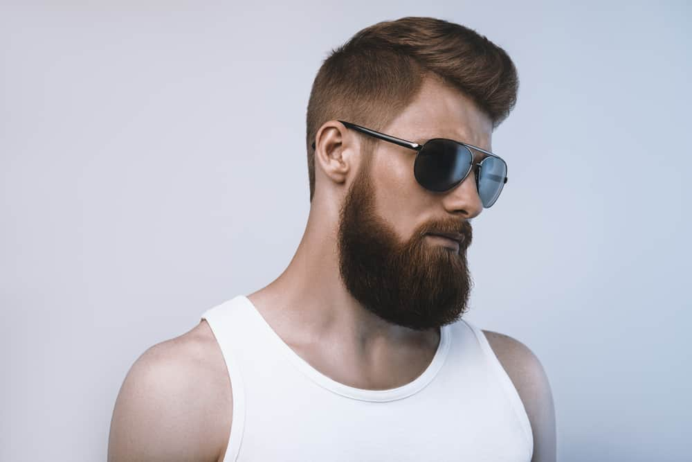 studio shot of bearded man wearing sunglasses