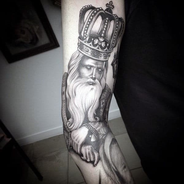 Bearded Man With British Crown Tattoo On Forearms For Men