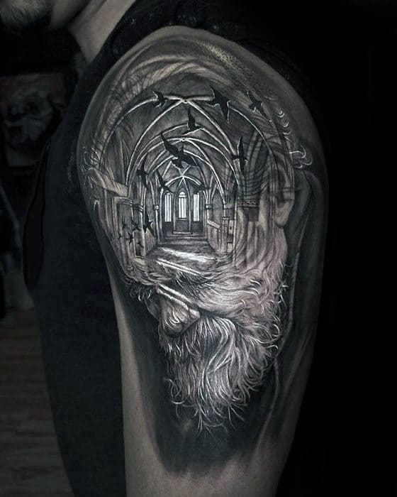 Bearded Man With Church Building 3d Arm Tattoos For Men