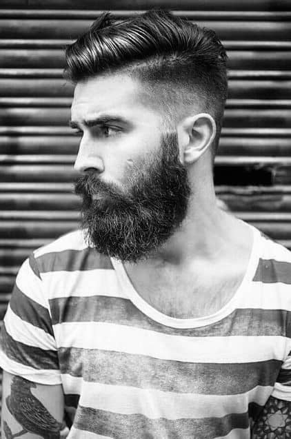Bearded Man With Medium Length Undercut Haircut