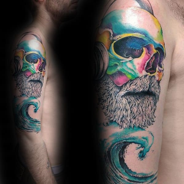 Bearded Skull With Ocean Wave Guys Unusual Colorful Arm Tattoos