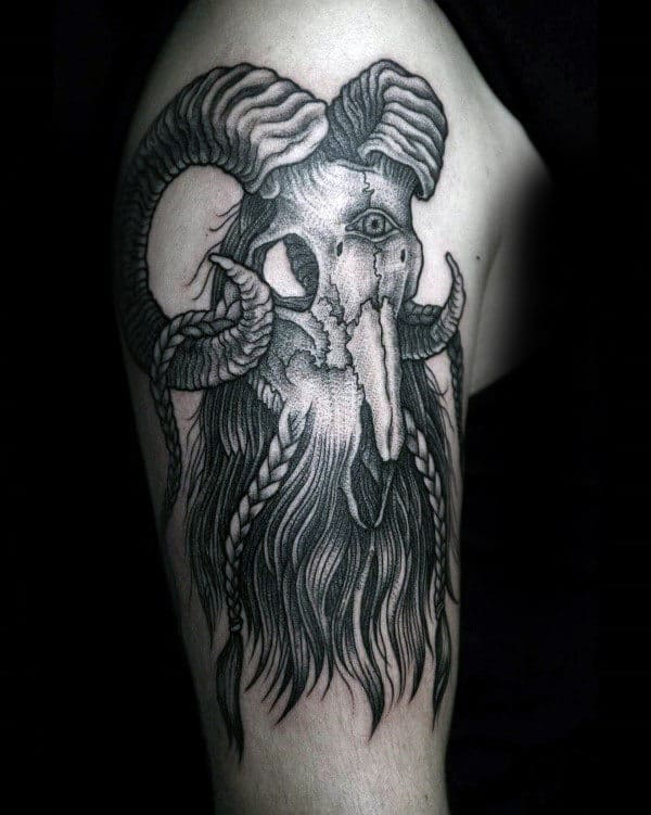 Beared Ram Skull Cool Mens Upper Arm Tattoos