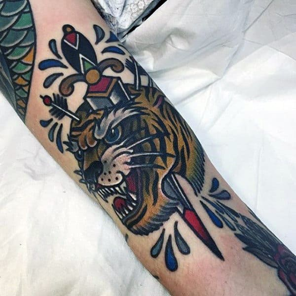 Beast And Dagger Tattoo Male Forearms