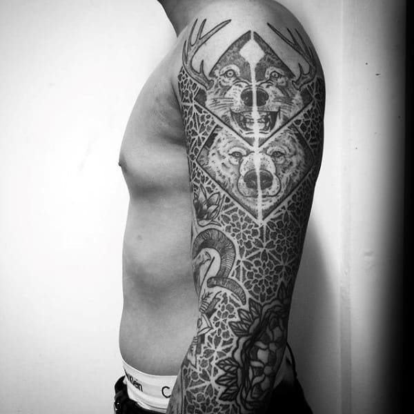 Beast And Pattern Tattoo Male Full Sleeves