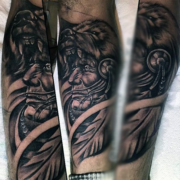 Beast Biting Native American Tattoo Males Lower Legs