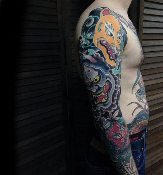 Beast Japanese Sleeve Tattoo For Guys