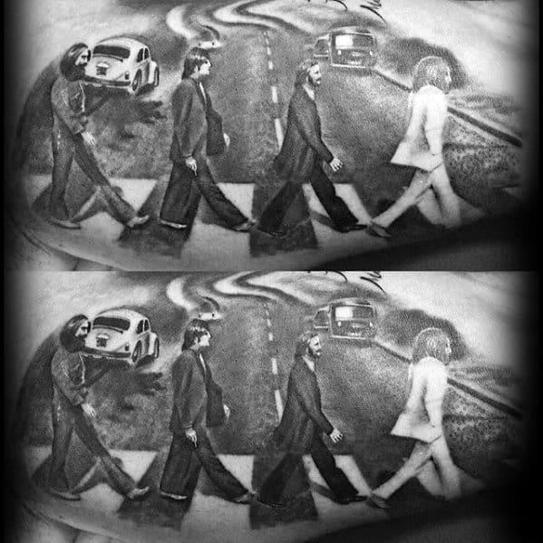 Beatles Guys Inner Arm Bicep Tattoo Designs