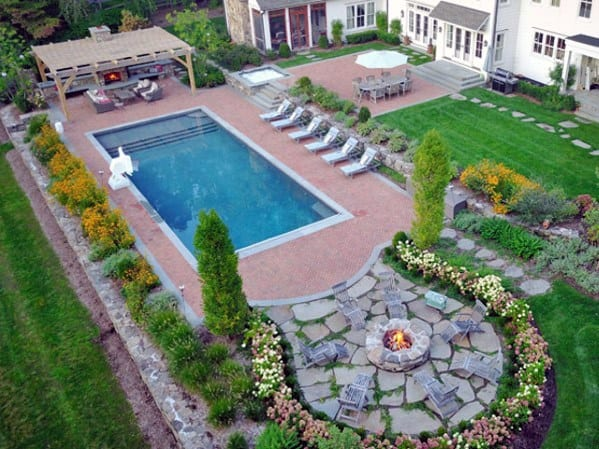 Beautiful Backyard Ideas For Pool Landscaping With Firepit And Pergola