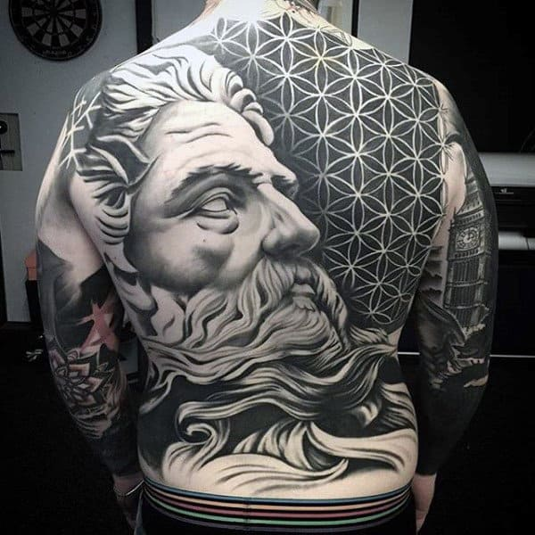 Beautiful Black And Grey Tattoo Of Apollo Guys Full Back
