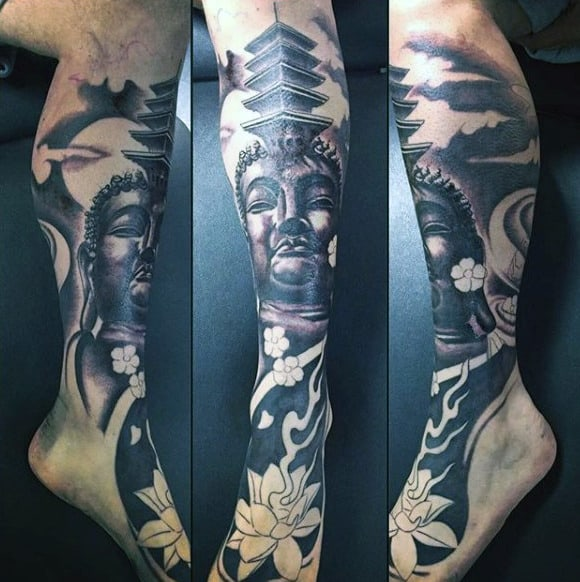 Beautiful Charcoal Colored Buddhism Tattoo On Legs Sleeve For Males