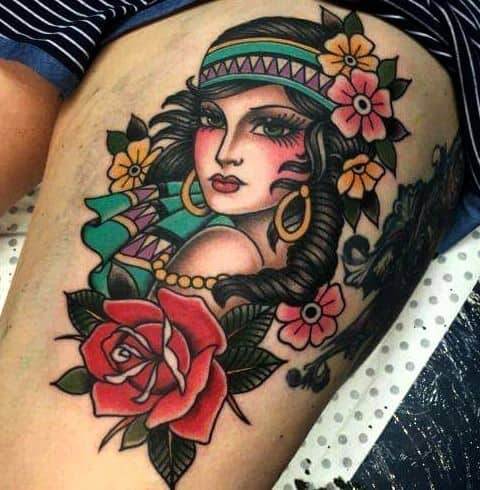 Beautiful Colored Gypsy Tattoo