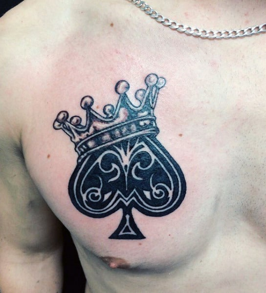 Beautiful Crowned Ace Tattoo Guys Chest Design Ideas
