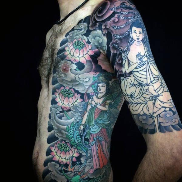 Beautiful Eastern Buddhist Myth Tattoo On Torso And Arms For Men