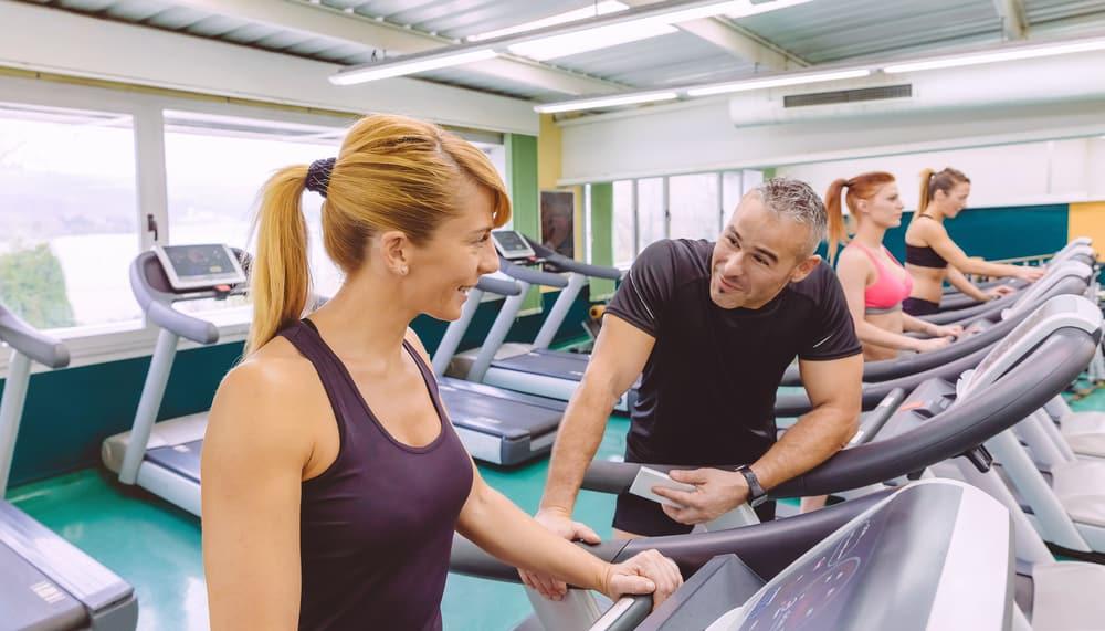 beautiful fitness woman talking
