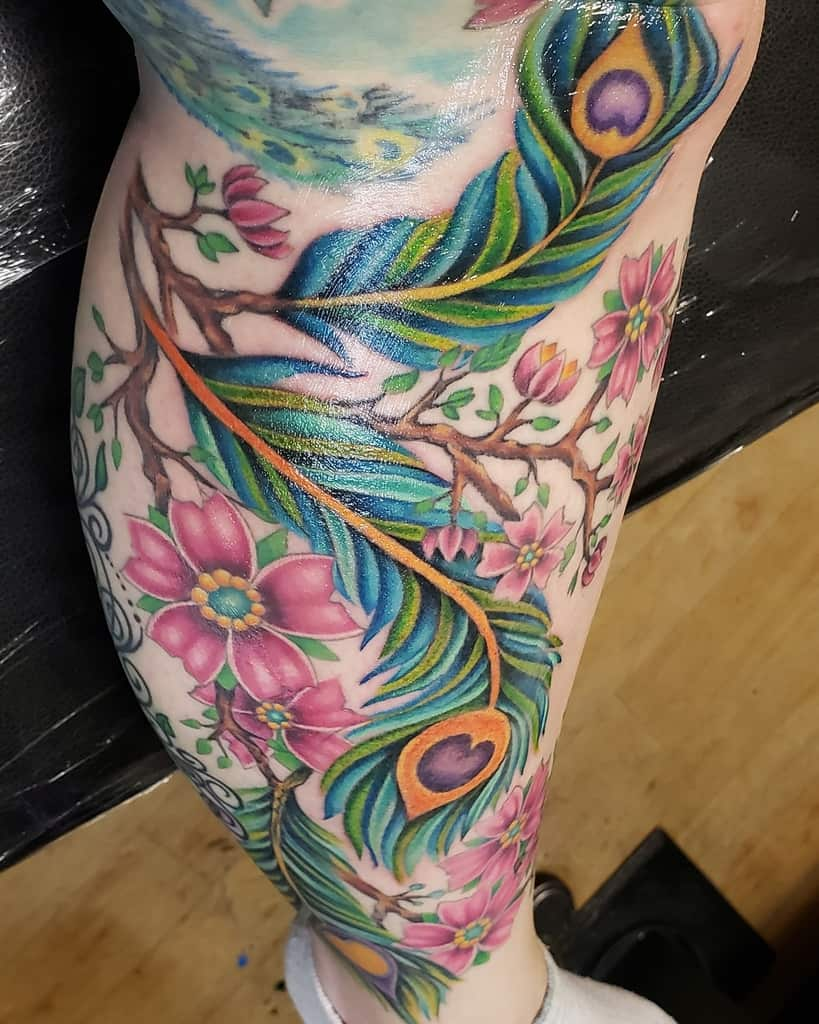 Beautiful Flower Peacock Feather Tattoo