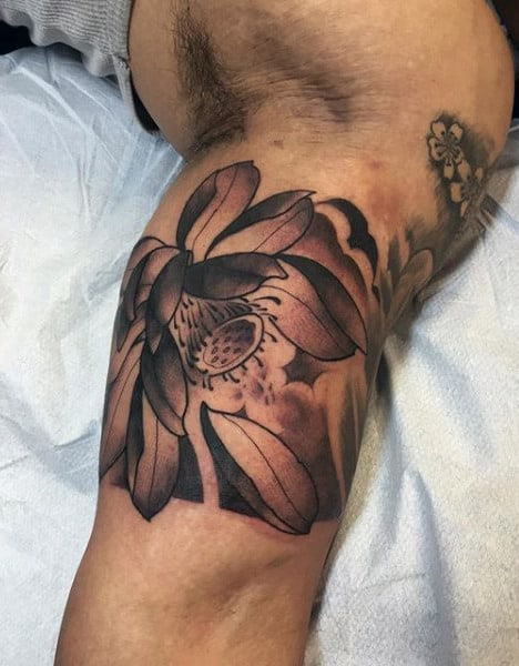 Beautiful Flower Tattoo Male Inner Biceps
