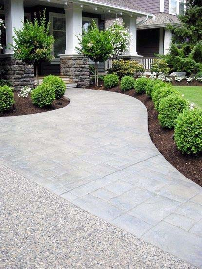 Beautiful Front Yard Curved Concrete Walkway Idea Inspiration