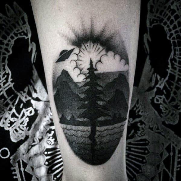 Beautiful Grey Flying Saucer Over Hills Tattoo Mens Lower Leg