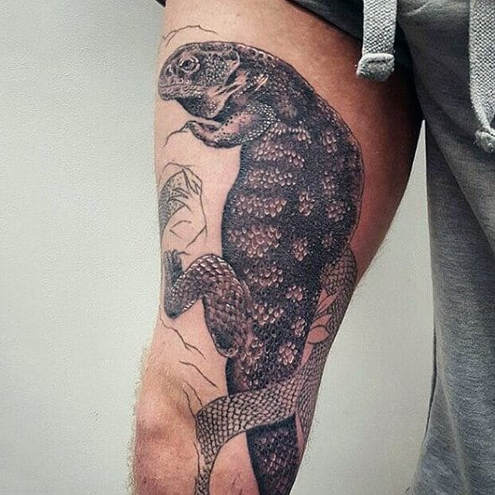 Beautiful Grey Shaded Lizard Tattoo On Legs For Guys
