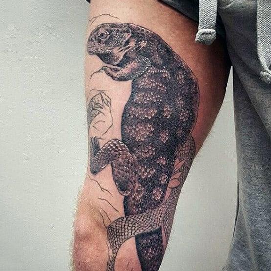 Beautiful Grey Shaded Lizard Tattoo On Legs For Guys