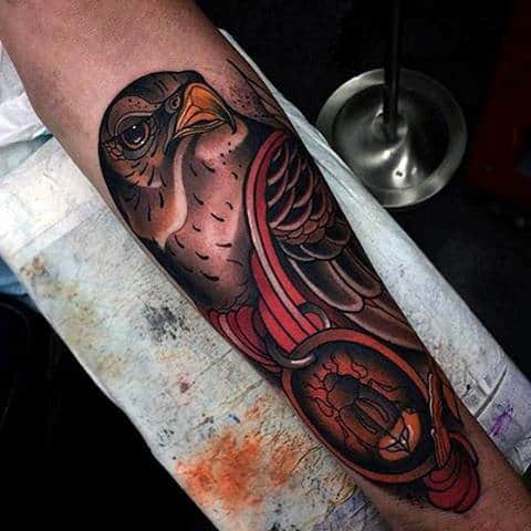 Beautiful Hawk With Scarab Beatle Tattoo For Men Half Sleeve