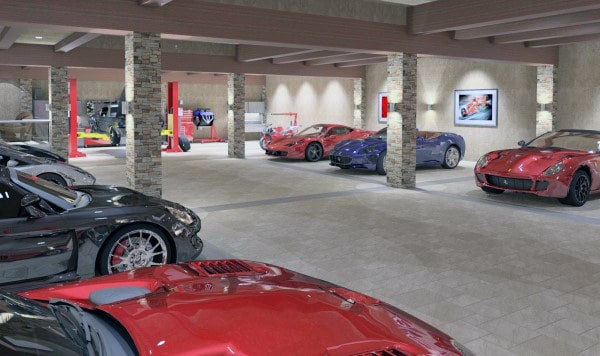 Beautiful Home Garage Luxury Design With Stone Tiles