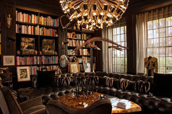 Beautiful Home Library With Decor From Around The World