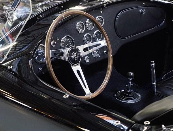 Beautiful Interior Of Black Shelby Cobra Vintage Car