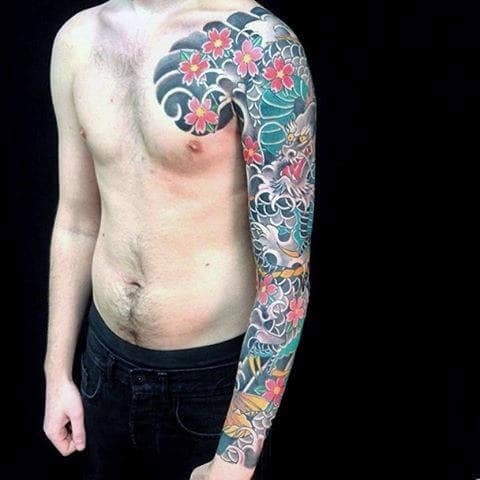 Beautiful Japanese Sleeve Tattoo For Males