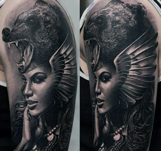Beautiful Lady With Bear Head Dress Tattoo Black And White Male Arms