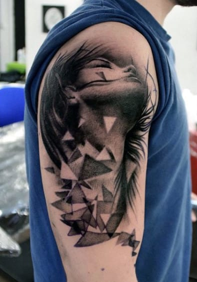 Beautiful Lady With Triangular Patterns Tattoo On Arms For Men
