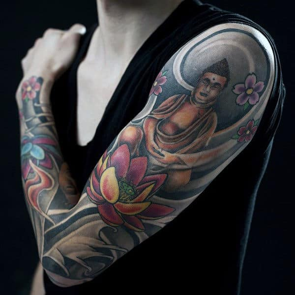 Beautiful Lotus Buddha Religious Tattoo Male Sleeves