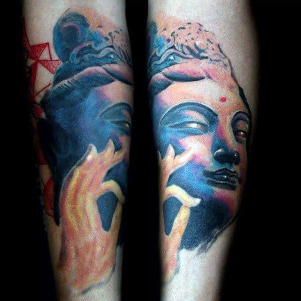 Beautiful Lower Limb Men Buddha Portrait Tattoo